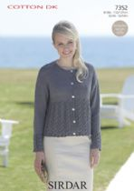 Sirdar Cotton DK Knitting Pattern - 7352 Cardigan
